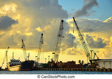 San Andres Port - The port of San Andres, Colombia early in...