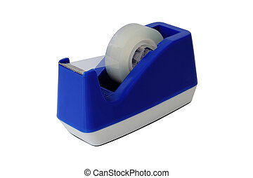 Blue scotch tape holder isolated over white background