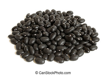 Black haricot beans Preto on a white background