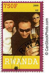 RWANDA - 2009: shows U2 - RWANDA - CIRCA 2009: A stamp...