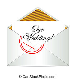 our wedding mail invite illustration design over a white...