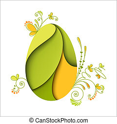 Floral easter egg. Green nature. Card