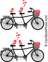 bicycle with love birds, vector - tandem bicycle with love...