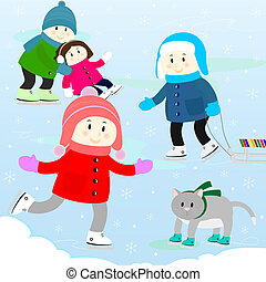 children on a skating rink - children and the cat skating on...