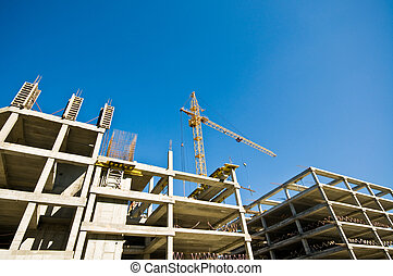construction crane and building