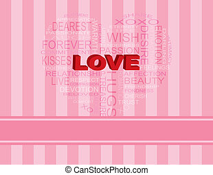 Love Heart Shape Word Cloud on Pink Background - Love Word...