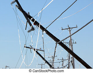 bent - winter storm knocked out power lines down pole broken...
