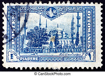 Postage stamp Turkey 1914 Blue Mosque, Istanbul - TURKEY -...