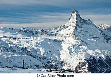 Matterhorn and swiss Alps - Panorama of swiss Alps with...