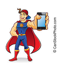 Superhero Gadget - young superhero with tuft of hair stands...
