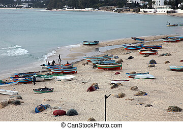 Boats on the beach. Hammamet