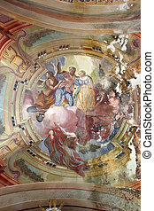 Fresco painting on the ceiling of the church