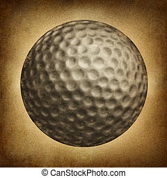 Golf Ball Grunge - Golf ball in an old vintage grunge...