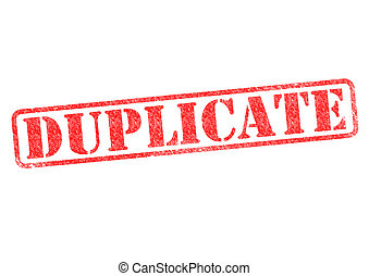 DUPLICATE red rubber stamp over a white background.