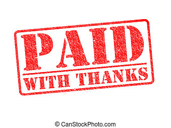 PAID WITH THANKS red rubber stamp over a white background