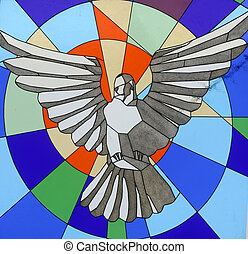 Holy Spirit Bird, stained glass
