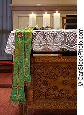 bougies, autel, église