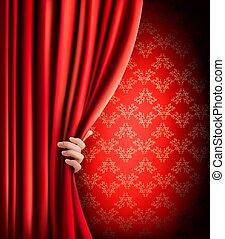 背景, 赤, ビロード, カーテン, 手, ベクトル,...