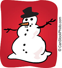 Snowman illustration - Traditional snowman with hat and...