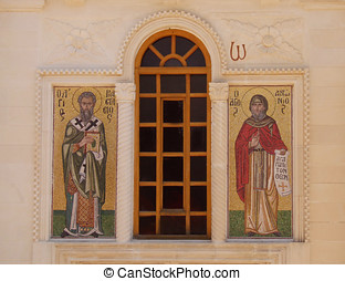 Greek Church - Icons of saints either side of window