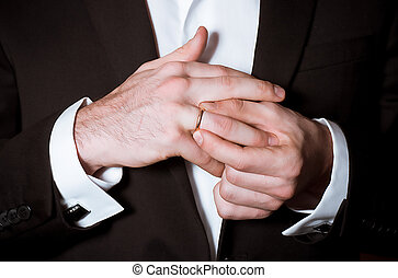 elegance groom hands - Close-up of elegance groom hands...