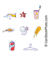 icon set - Set of funky hand-drawn elements of modern urban...