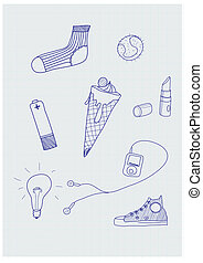 hand-drawn elements - Set of funky hand-drawn elements of...