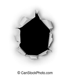 Breakthrough torn big black hole in rough paper isolated on...