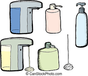 Lotion and Soap Bottles - Various soap and lotion dispensers...