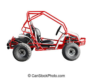 Buggy car isolated on white background - Red old buggy car...