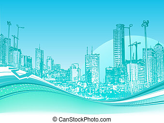 urban background - Big City Blue urban background with...