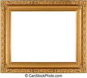 Empty Gold frame - Empty Gold photo frame isolated on pure...