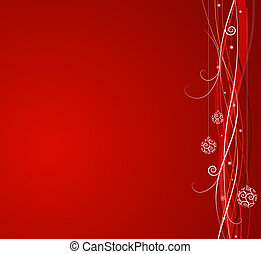 Red Christmas background: composition of curved lines and...