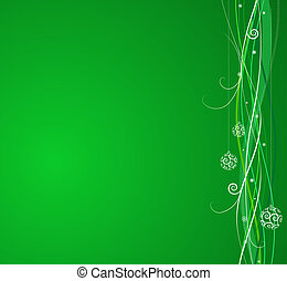 Green Christmas background: composition of curved lines and...