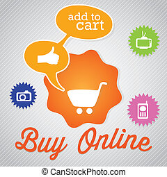 Buy Online text bubble with cart for shopping. Vector...