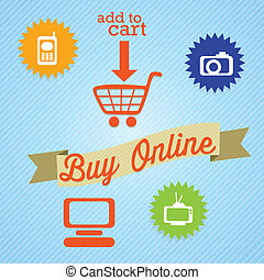 Buy Online add to cart with imedia icons On blue background...