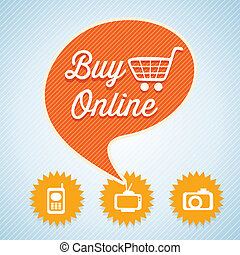 Buy Online text bubble with cart for shopping Vector...