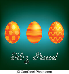"""Happy Easter! - Portuguese """"Happy Easter"""" bright egg card in..."""