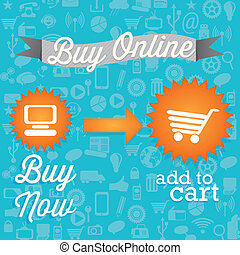 Buy Online - Buy Now add to cart On blue background Vector...