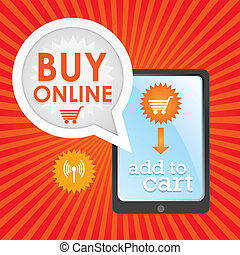 Buy Online poster, add to cart, on red and orange background...