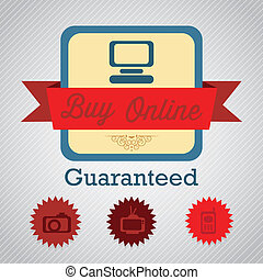 Buy Online Label of guaranteed Vector illustration
