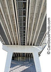 Under Highway Bridge - Isolated supports and underworks of a...