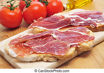 jamón,  Tapas,  Serrano, Cortar, servido,  bread