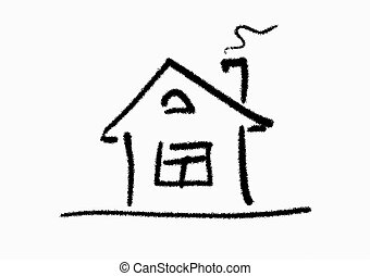 House - The line art image of small house