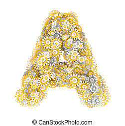 Letter from camomile flowers - Alphabet from camomile...
