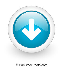 arrow down blue circle glossy web icon on white background