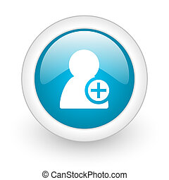 add contact blue circle glossy web icon on white background...