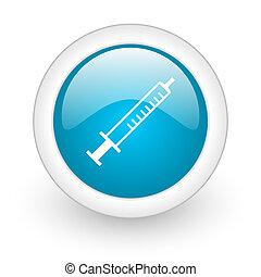 syringe blue circle glossy web icon on white background