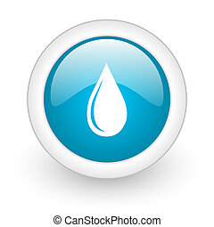 water drop blue circle glossy web icon on white background