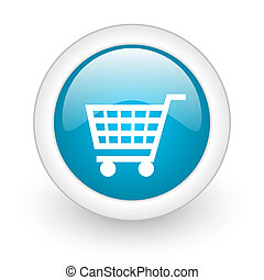 shopping cart blue circle glossy web icon on white...